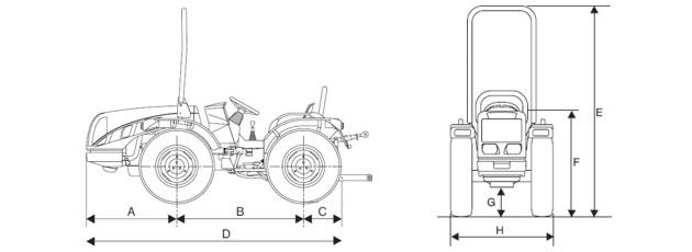 Трактор Eos размеры